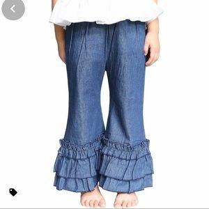 Ruffle Girl Chambray Ruffled Hem Pants